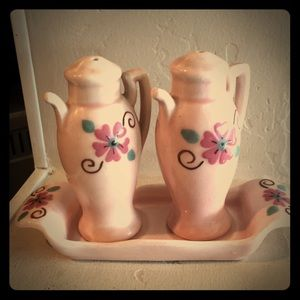 Vintage salt and pepper shaker set with tray